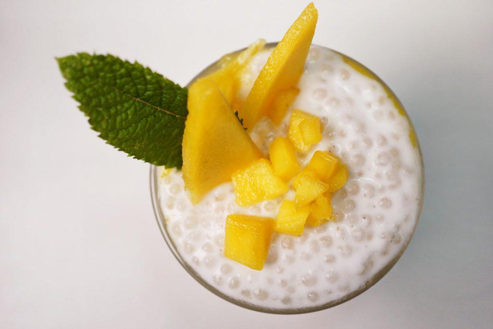 Mango Tapioka Trifle mit Kokosmilch –Perlenpudding