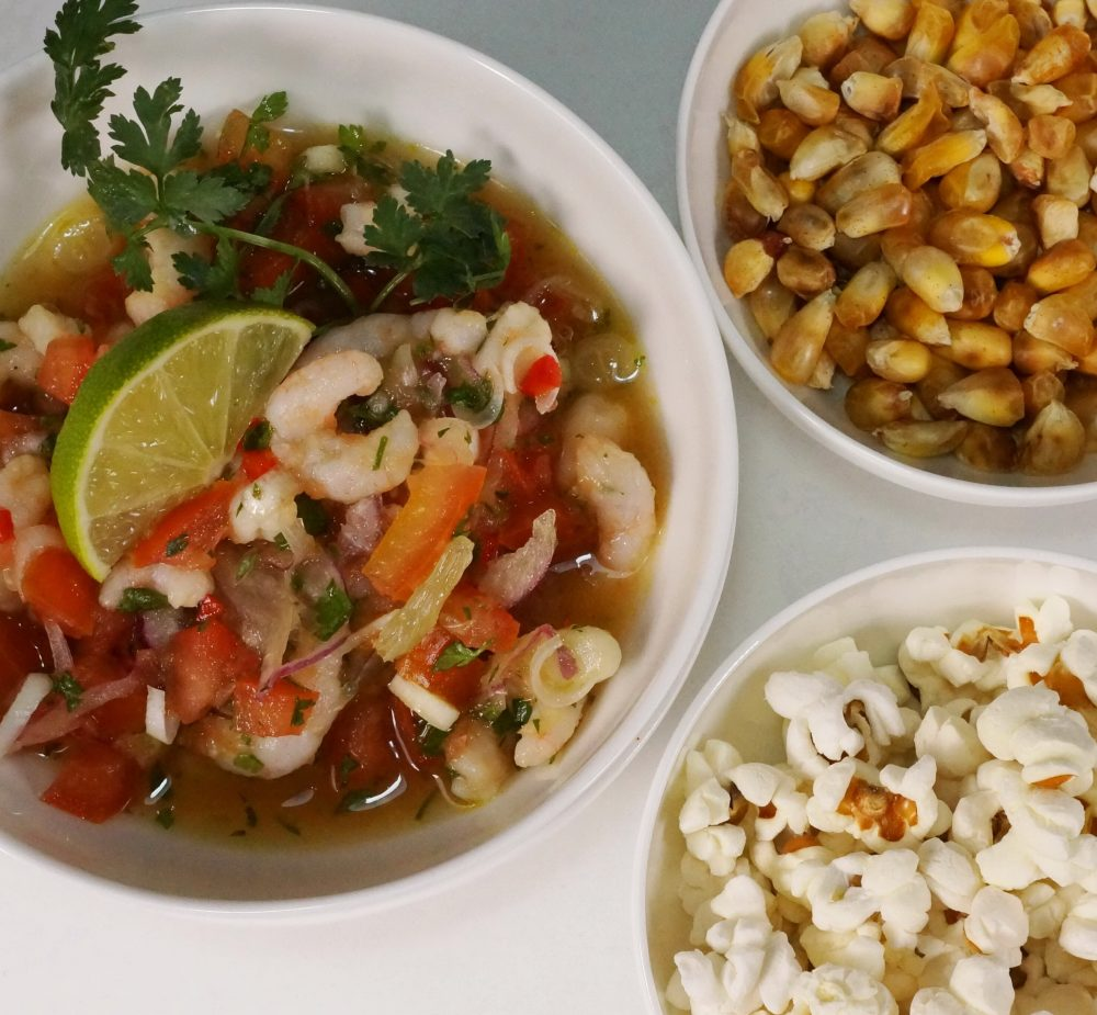 Ceviche de Camarón mit Shrimps, Tomaten undLimettensaft