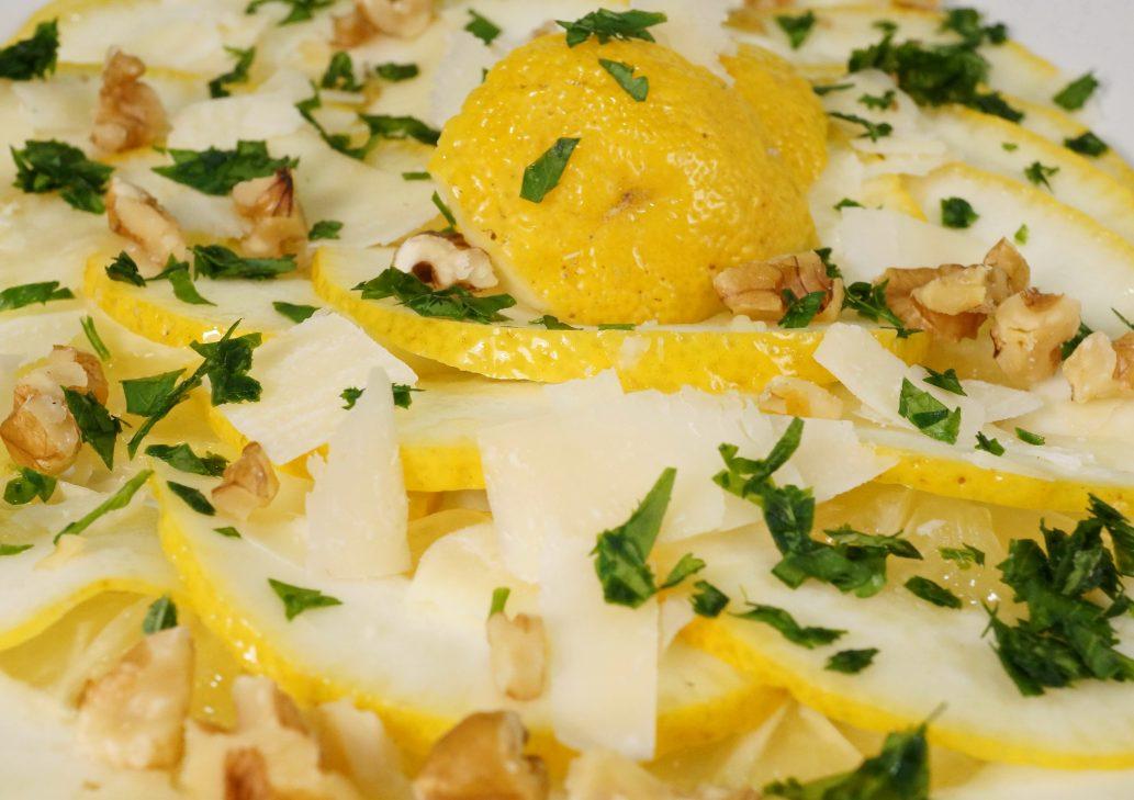 Cedri-Zitronen Carpaccio mit Parmesan &Walnüssen